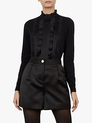 Ted Baker Paygee Ruffle Panel Jumper, Black