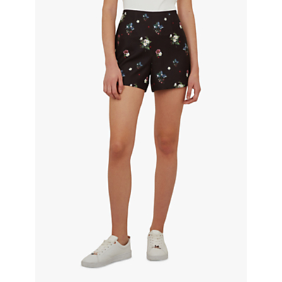 Ted Baker Naomii Floral Embroidery Shorts, Black/Multi