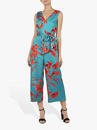 Ted Baker Rabecca Fantasia Tie Side Jumpsuit, Turquoise Blue