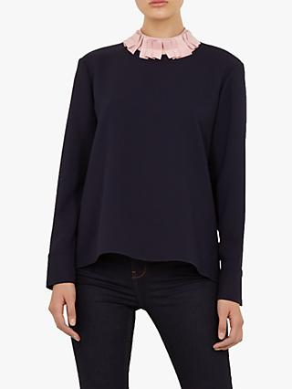 Ted Baker Wilmma Drop Hem Ruffle Neck Sweater, Dark Blue