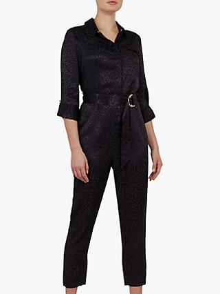 Ted Baker Marryan Textured Animal Print Jumpsuit, Dark Blue
