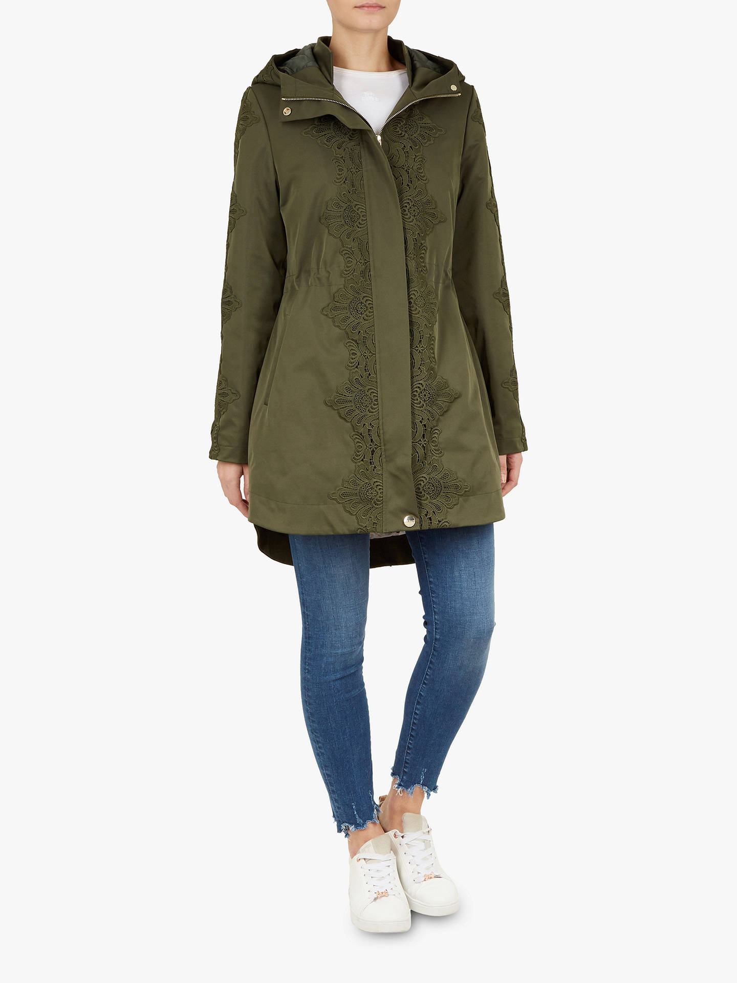 Buy Ted Baker Luceen Lace Detail Parka, Khaki, XS Online at johnlewis.com