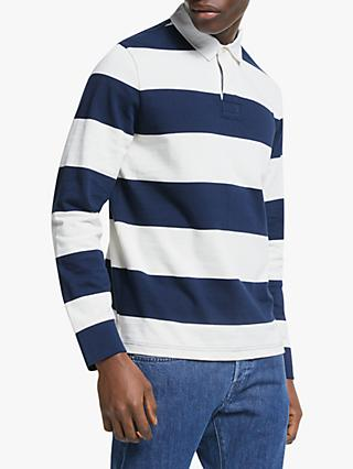 John Lewis & Partners Wide Stripe Rugby Top, Navy/White