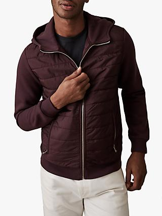 Reiss Hamish Hooded Quilted Jacket, Bordeaux