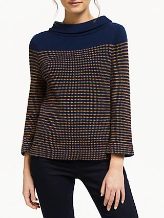 Seasalt Gulf Stripe Jumper, Glaze Fire/Fresh Blue