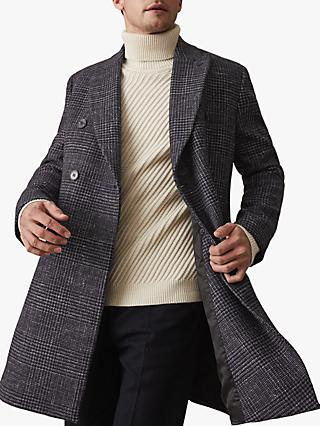 Reiss Francisco Dogtooth Coat, Blue