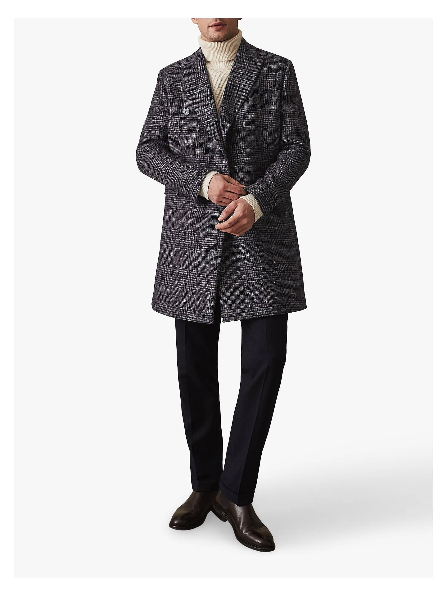 S REISS Men/'s Black Francisco Cashmere Blend Double Breasted Coat L XL M