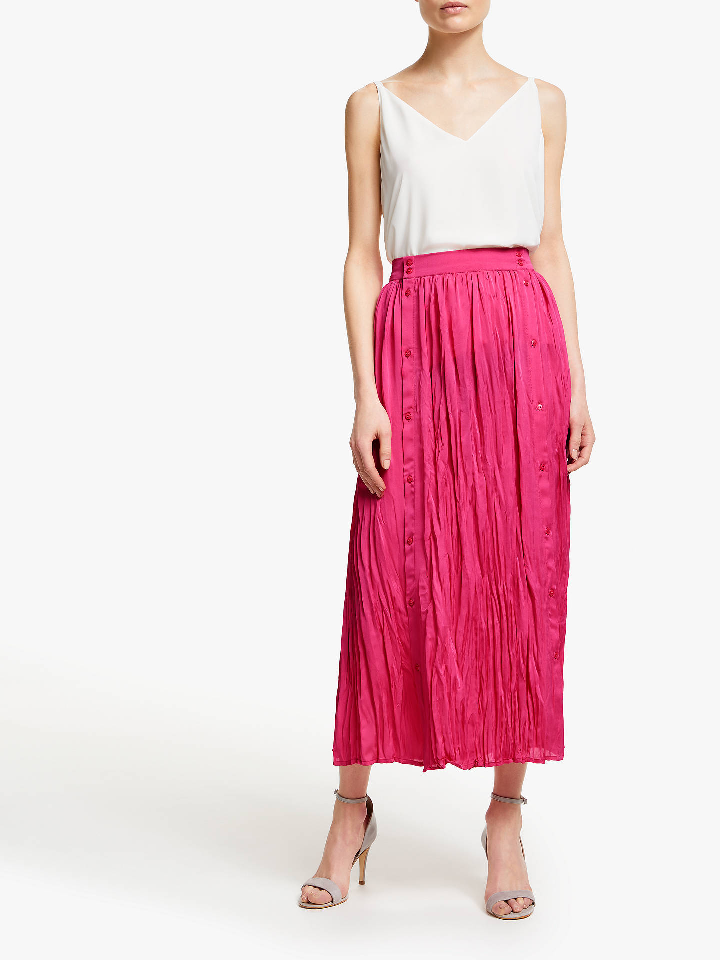 Buy John Lewis & Partners Button Through Crinkle Skirt, Bright Pink, 18 Online at johnlewis.com
