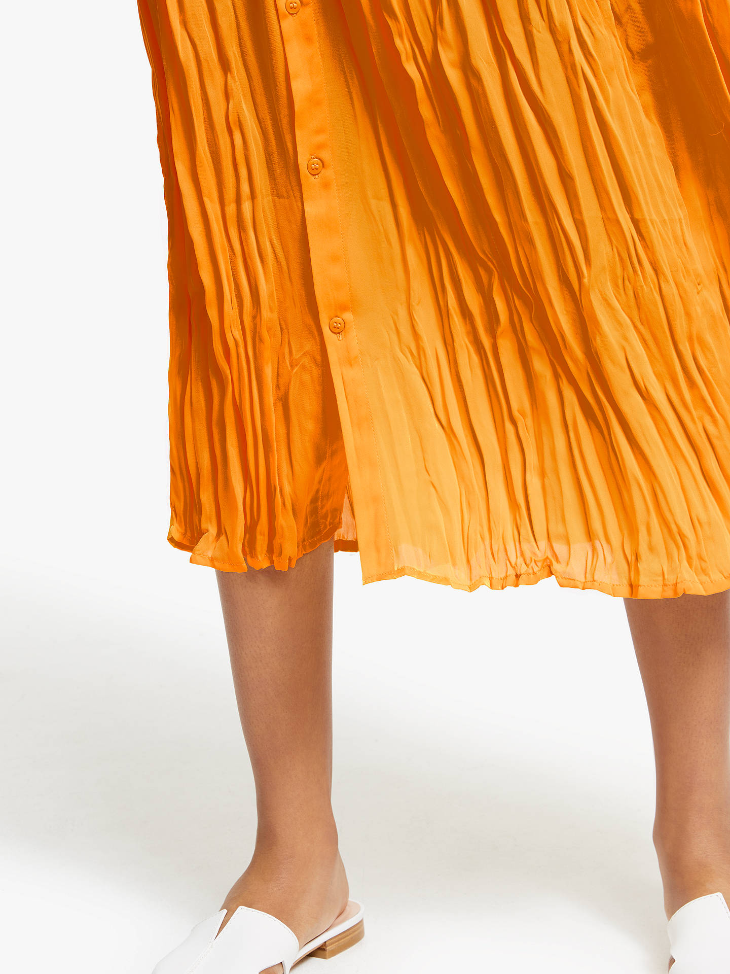 Buy John Lewis & Partners Button Through Crinkle Skirt, Yellow, 8 Online at johnlewis.com