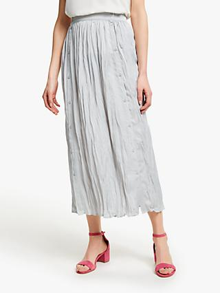 John Lewis & Partners Button Through Crinkle Skirt