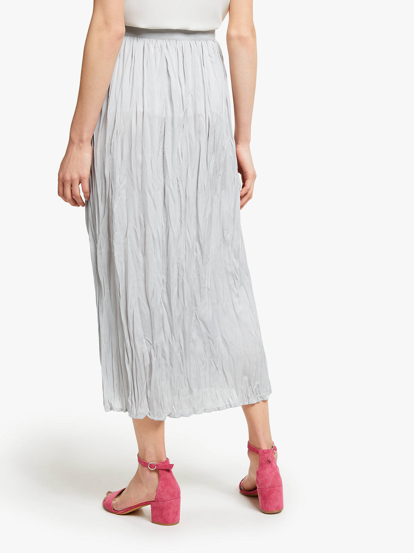 Buy John Lewis & Partners Button Through Crinkle Skirt, Light Grey, 16 Online at johnlewis.com