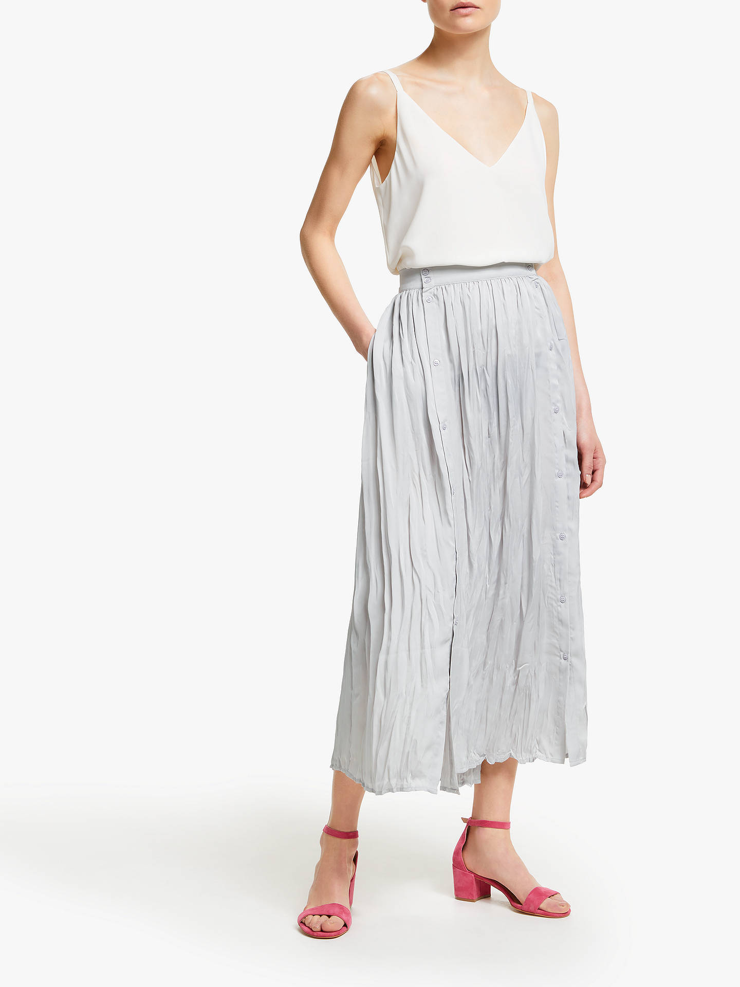 Buy John Lewis & Partners Button Through Crinkle Skirt, Light Grey, 14 Online at johnlewis.com
