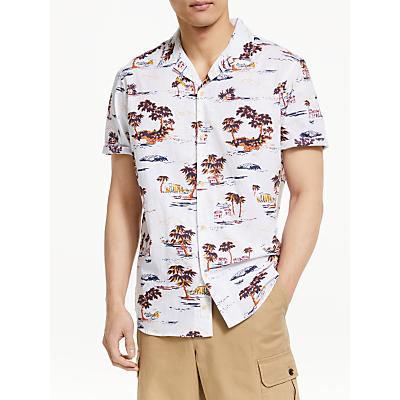 John Lewis & Partners Hawaiian Print Short Sleeve Shirt, White