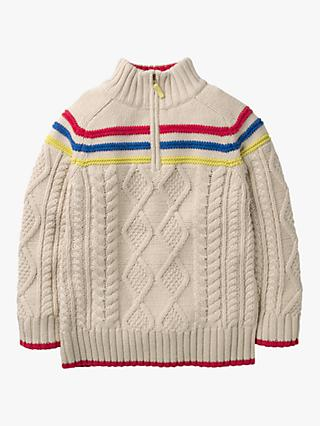 Mini Boden Boys' Chunky Zip Neck Jumper, Ecru
