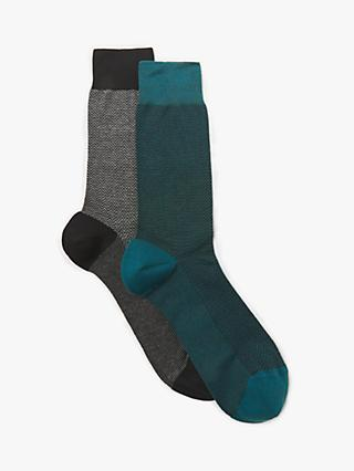 John Lewis & Partners Herringbone Egyptian Cotton Socks, Pack of 2, Grey/Turquoise