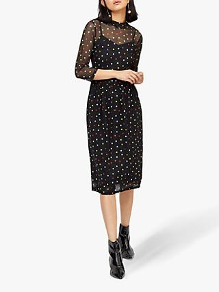 Warehouse Rainbow Spot Dress, Black