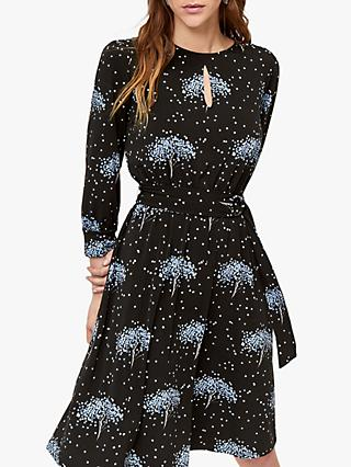 Warehouse Star Tree Print Dress, Black
