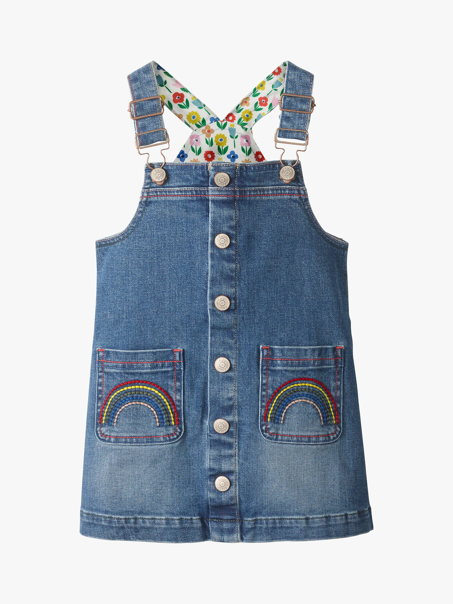Mini Boden Girls Button Front Denim Dungaree Dress Light
