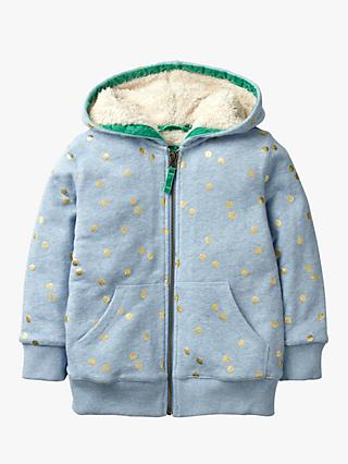 Mini Boden Girls' Shaggy Zip Through Hoodie, Blue Marl/Foil Print