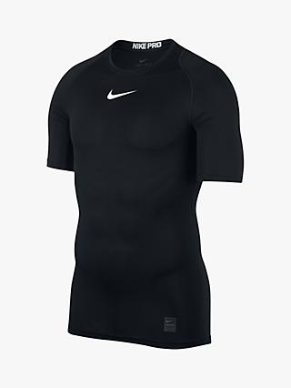 Nike Pro Short Sleeve Top, Black/White