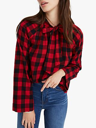 Madewell Long Sleeve Tie Neck Check Top, Sasha Buffalo Cranberry