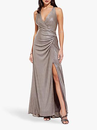 Adrianna Papell Long Metallic Jersey Dress, Mink