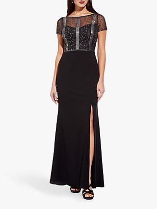 Adrianna Papell Beaded Bodice Gown, Black