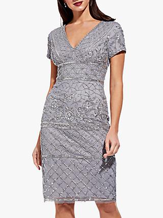 Adrianna Papell V-Neck Beaded Cocktail Dress, Slate