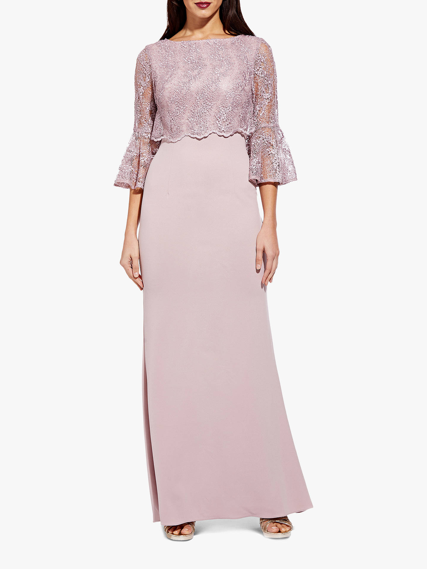 BuyAdrianna Papell Embroidered Maxi Dress, Dusty Rose, 16 Online at johnlewis.com