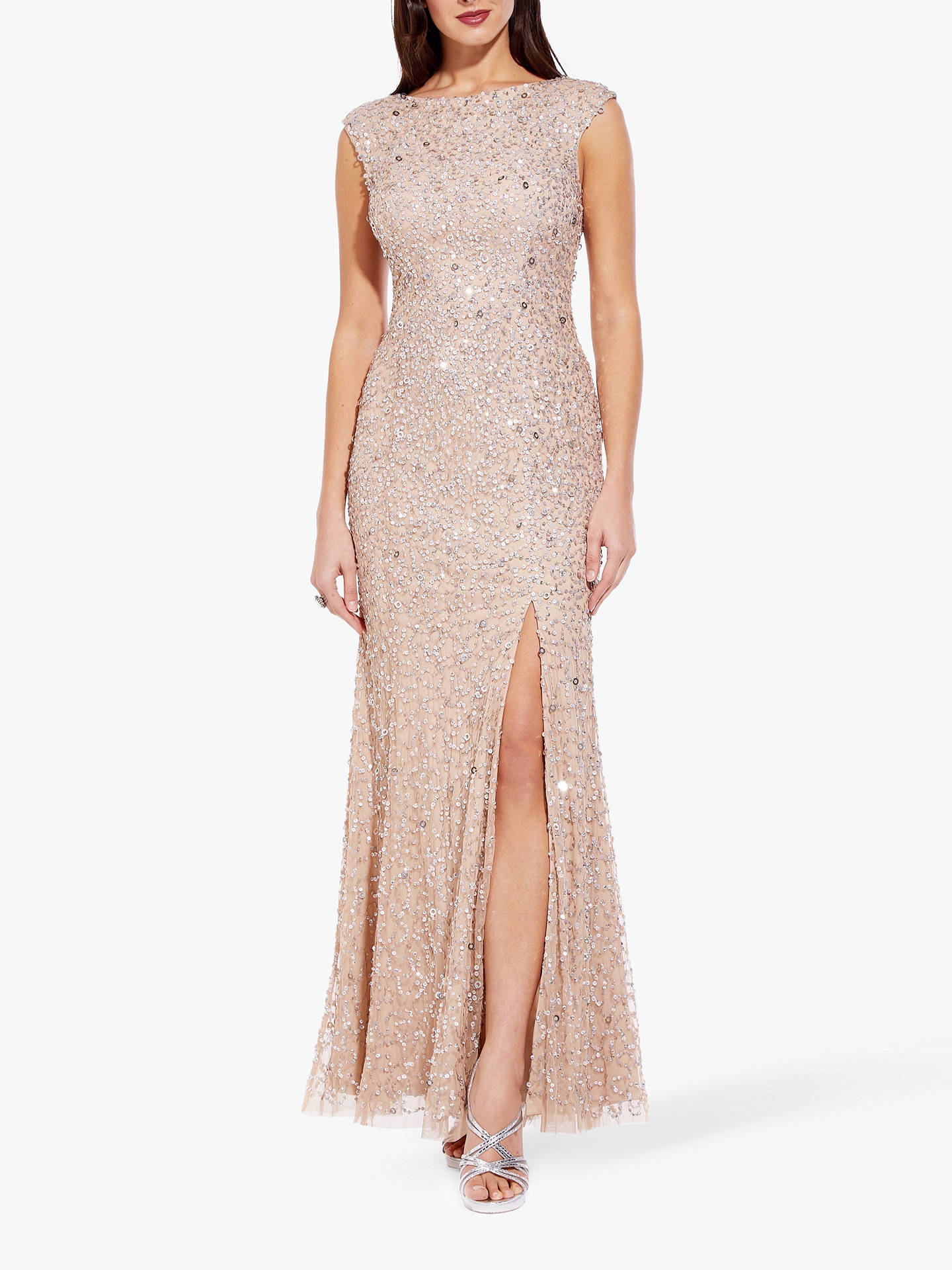 6b2ecb5a1d4ac Adrianna Papell Cap Sleeve Sequin Dress, Champagne at John Lewis ...