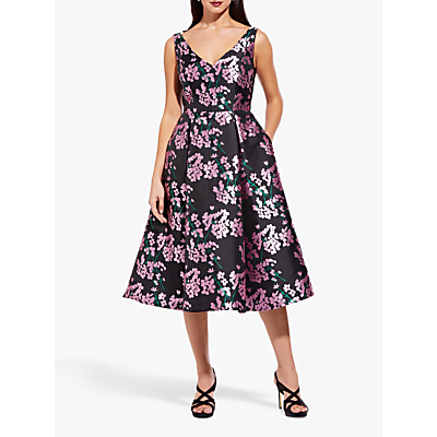 Adrianna Papell Flower Flared Tea Dress, Pink/Black