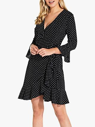 Adrianna Papell Polka Dot Faux Wrap Dress, Black