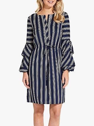 Adrianna Papell Melody Stripe Shirt Dress, Blue/White