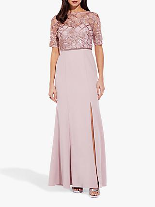 Adrianna Papell Long Sequin Crepe Dress, Quartz