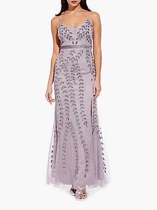 Adrianna Papell Long Beaded Maxi Dress, Lilac Grey