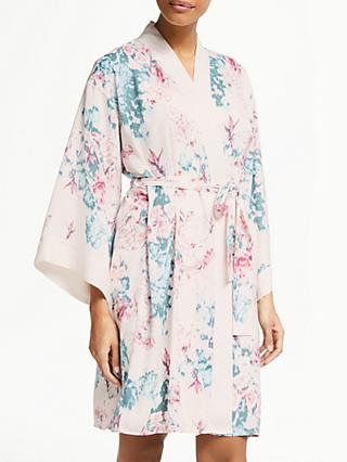 John Lewis & Partners Laurie Satin Floral Print Kimono, Pink/Turquoise