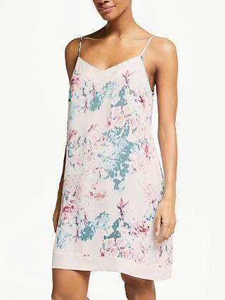 John Lewis & Partners Laurie Satin Floral Print Chemise, Pink/Turquoise