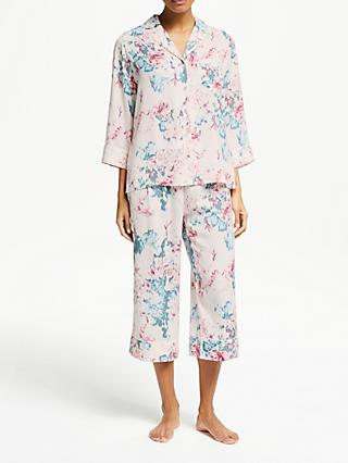 722b8c104 John Lewis   Partners Laurie Satin Floral Print Cropped Pyjama Set