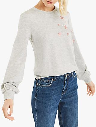 Oasis Star Applique Jumper, Mid Grey