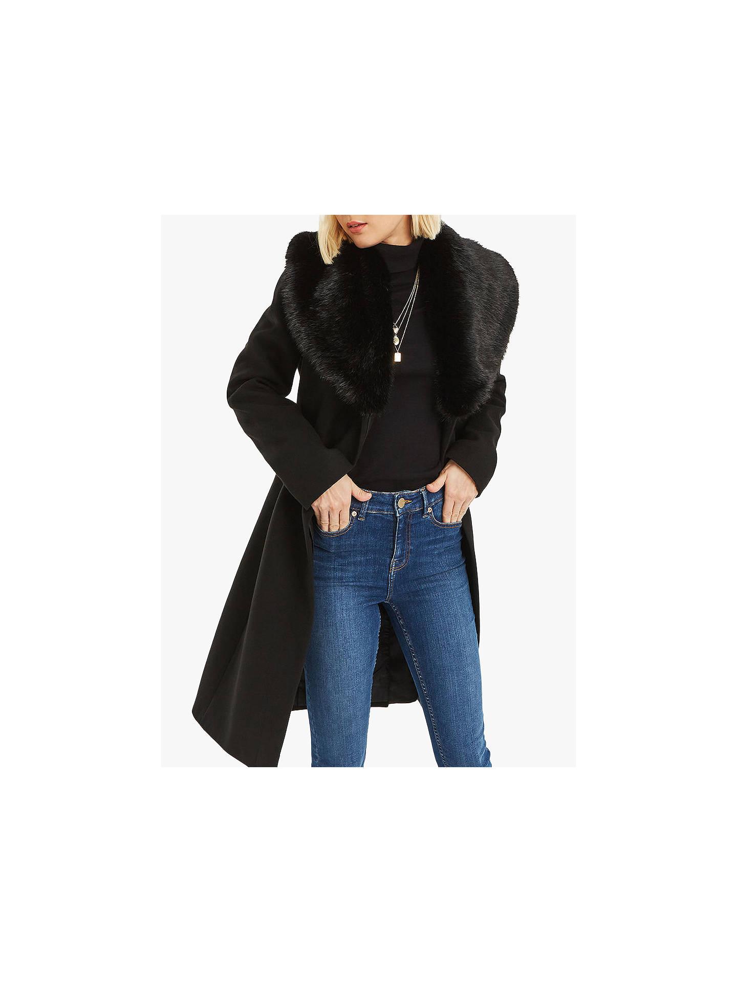 f9a3f6c44ae2 Buy Oasis Birch Faux Fur Trim Coat, Black, S Online at johnlewis.com ...
