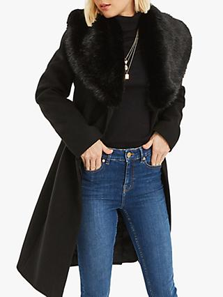 Oasis Birch Faux Fur Trim Coat, Black