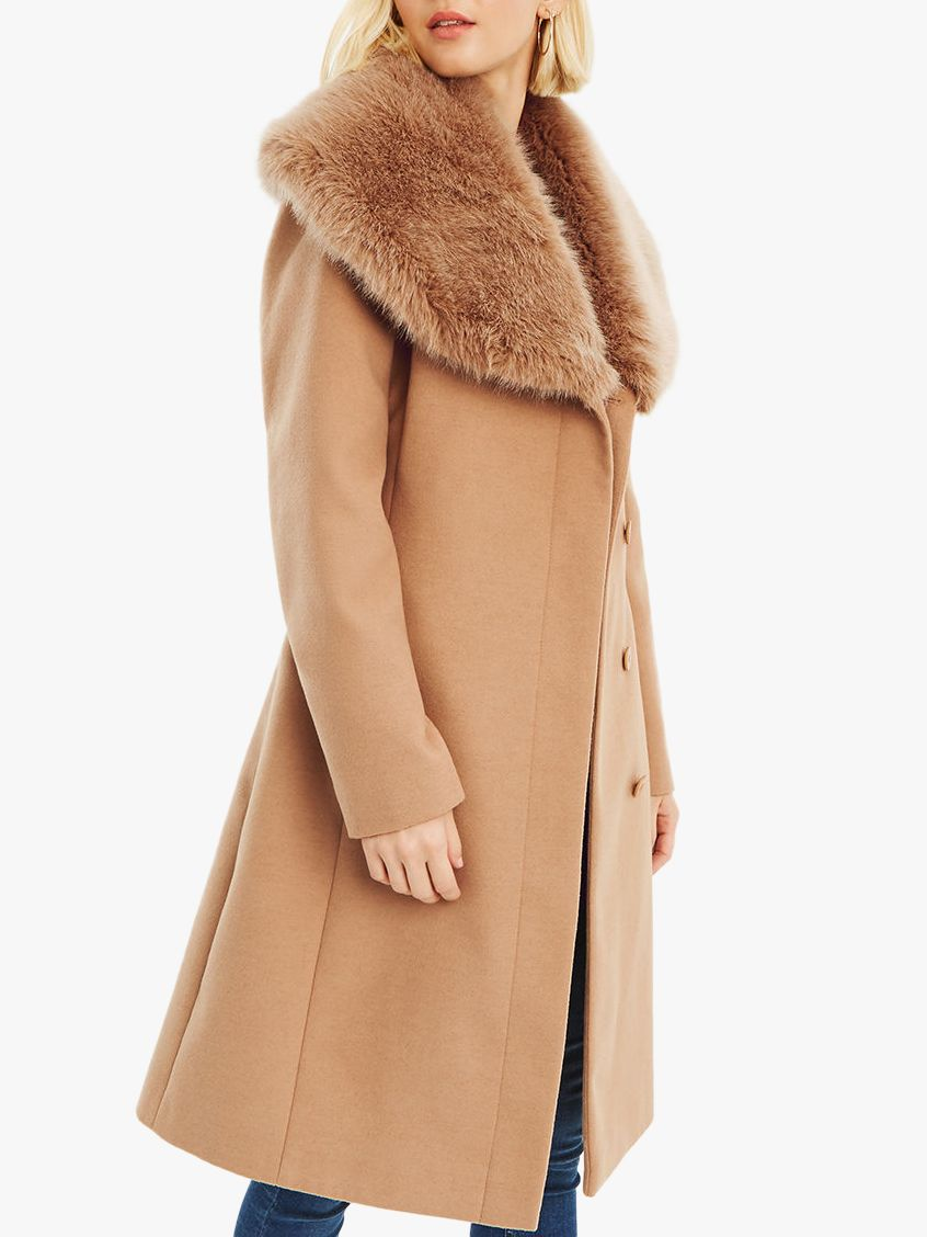 41a3f2f7e655 Oasis Faux Fur Collar Birch Coat, Neutral at John Lewis & Partners