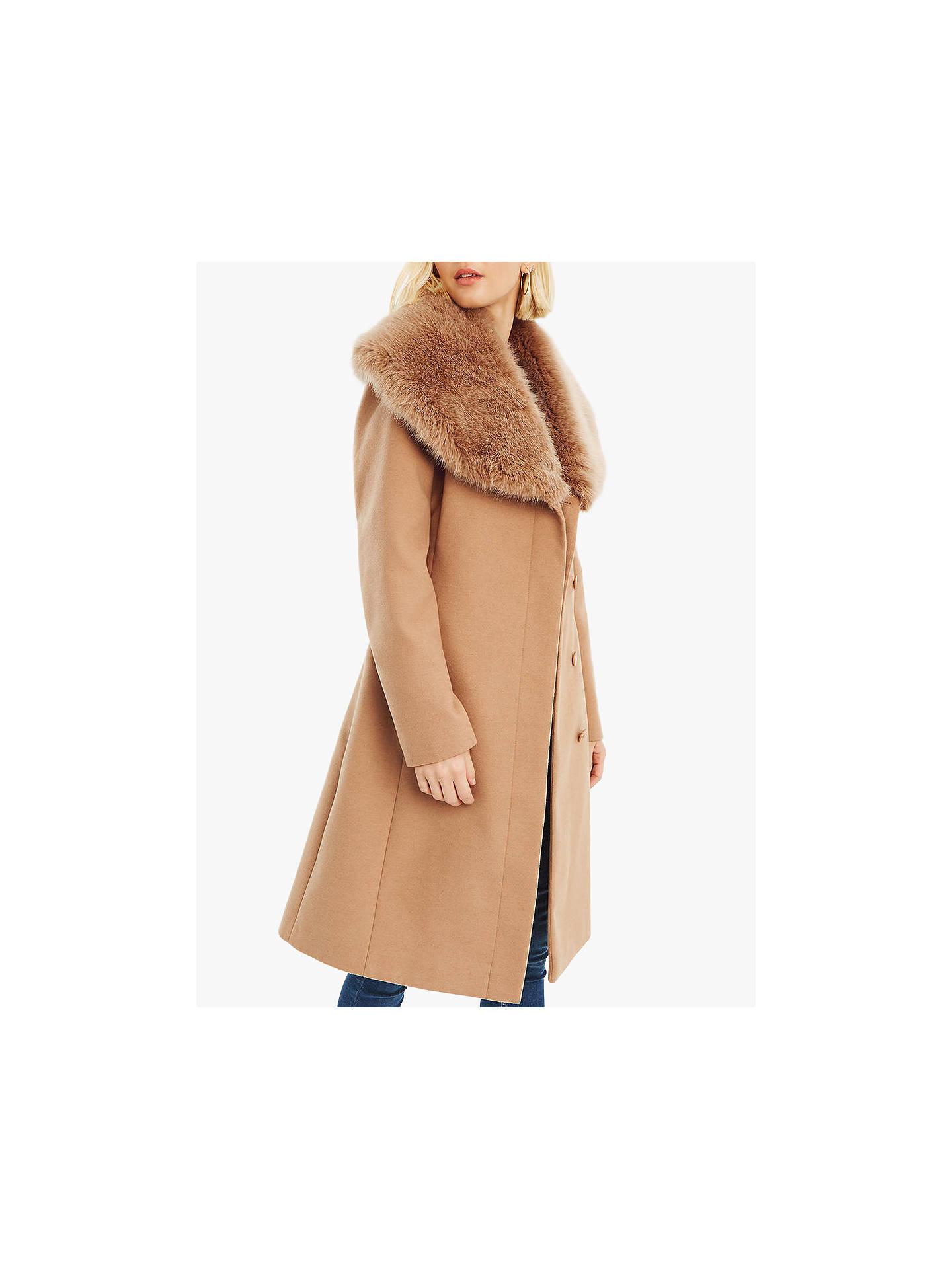 01c42e9eefe3 Buy Oasis Faux Fur Collar Birch Coat, Neutral, S Online at johnlewis.com ...