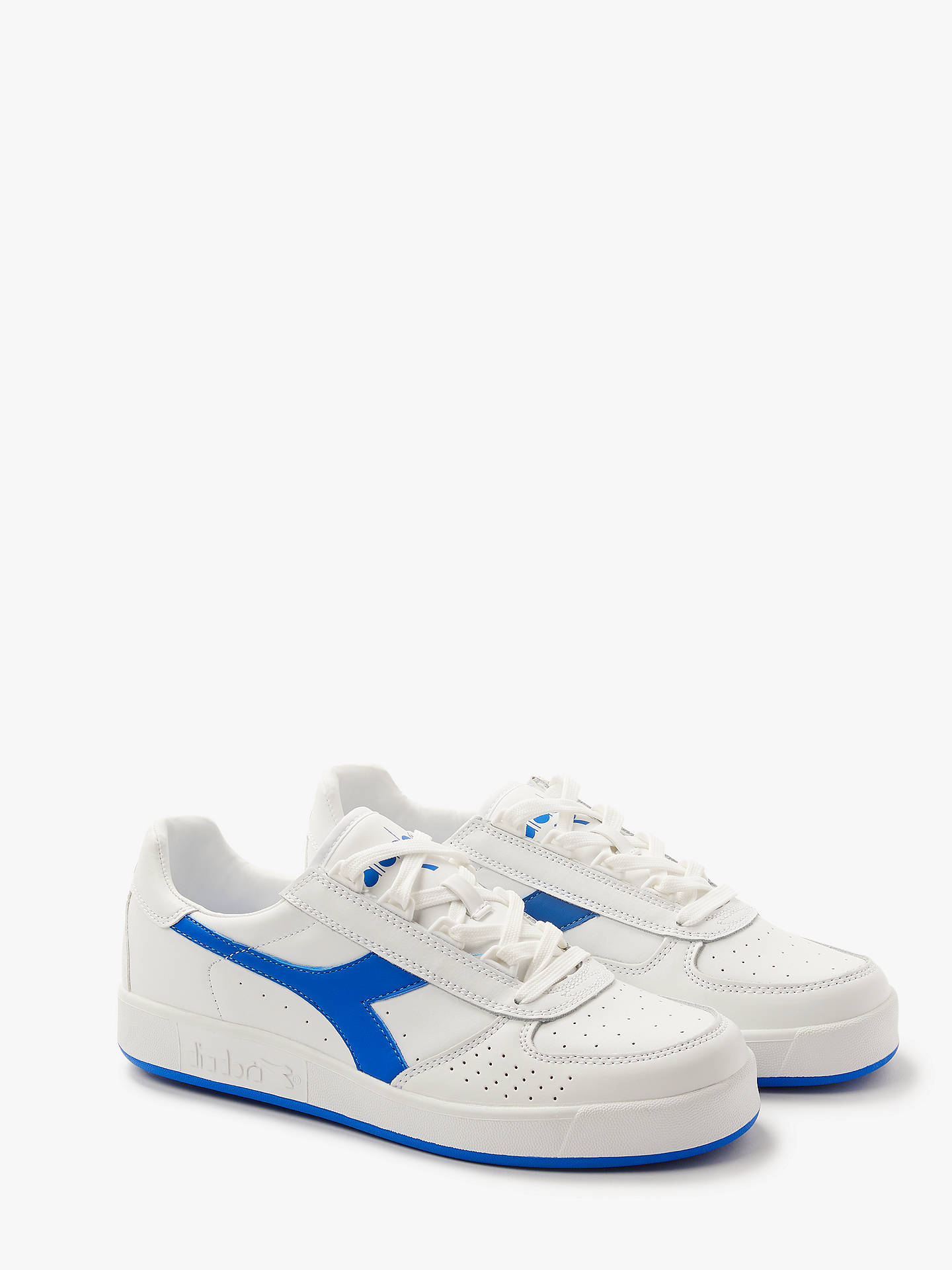 ac86ad96 Diadora B.Elite Lace Up Trainers, White/Royal Blue at John Lewis ...