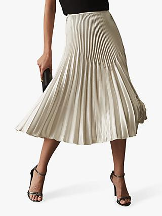 Reiss Isidora Metallic Knife Pleat Midi Skirt, Silver