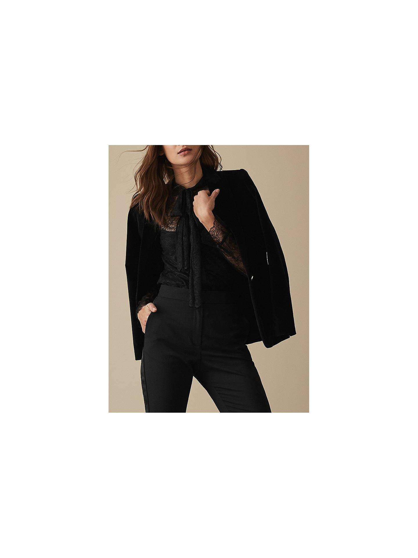 61d654345f37c0 Buy Reiss Oriel Lace Tie Neck Top, Black, 6 Online at johnlewis.com ...