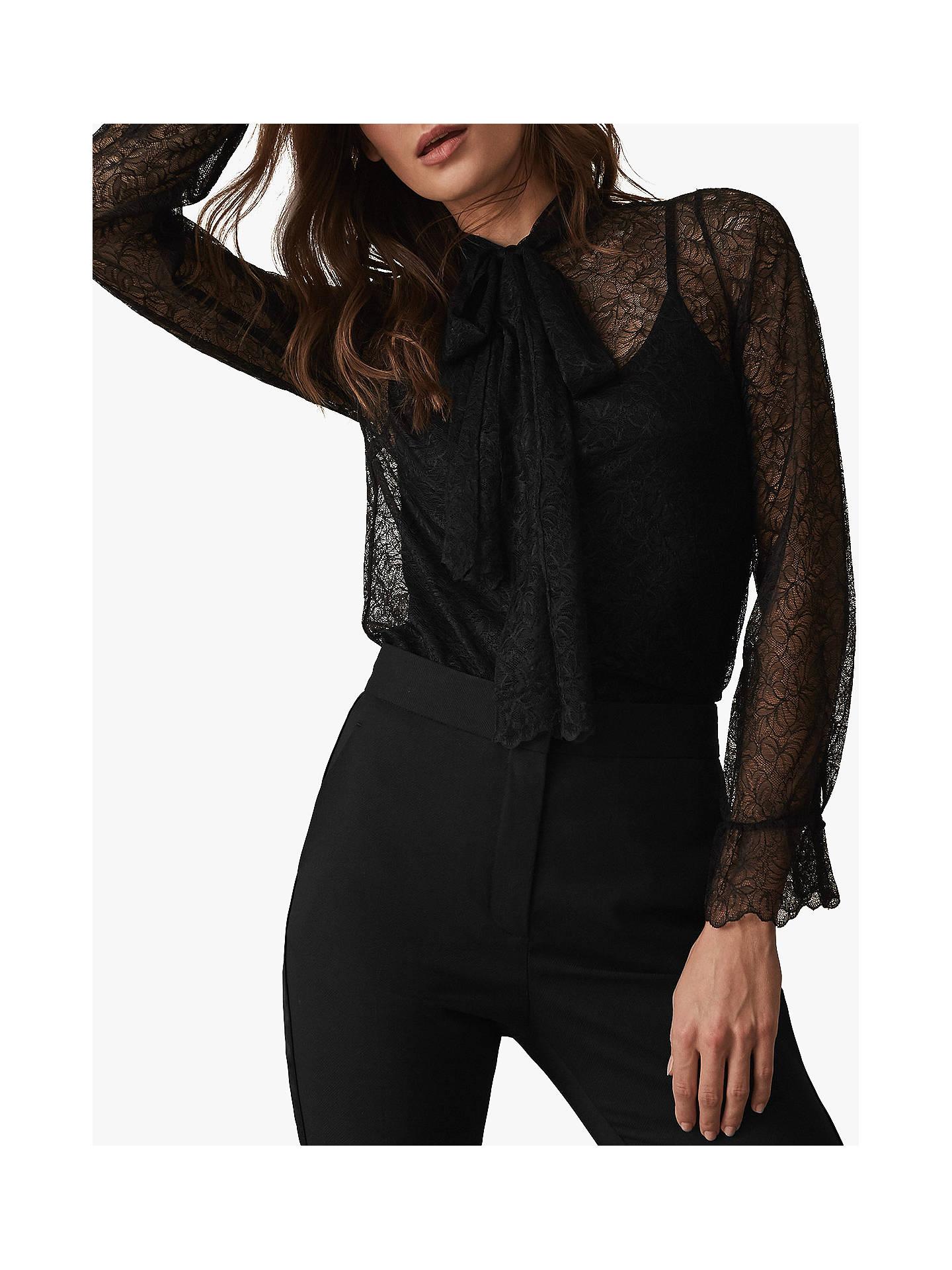 fe6a47096f0c66 ... Buy Reiss Oriel Lace Tie Neck Top, Black, 6 Online at johnlewis.com ...