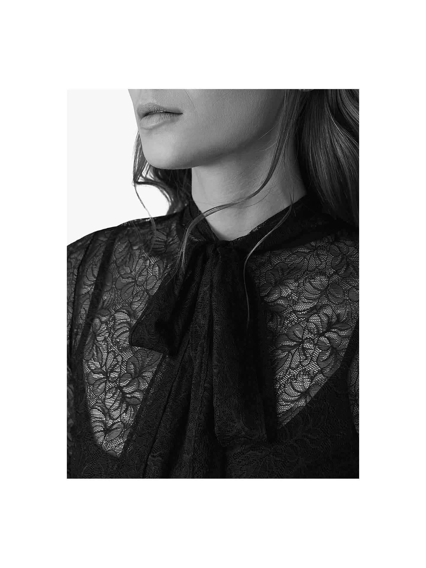 94a758d34a5dea ... Buy Reiss Oriel Lace Tie Neck Top, Black, 6 Online at johnlewis.com