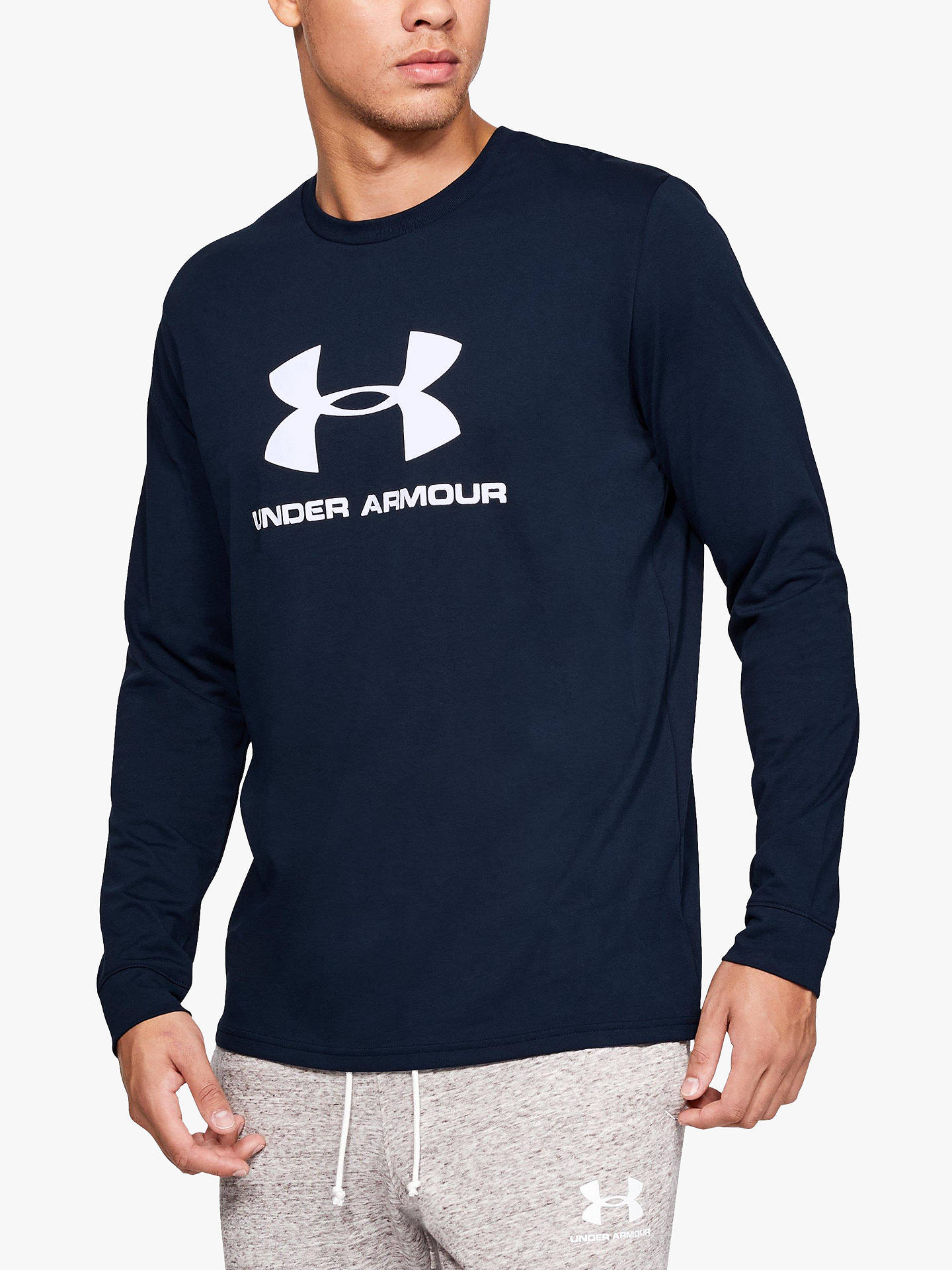 982a5fcb0 Buy Under Armour Sportstyle Logo Long Sleeve Training Top, Navy, S Online  at johnlewis ...
