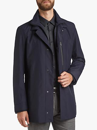 HUGO by Hugo Boss Barelto Water Repellent Detachable Stand Collar Coat, Navy